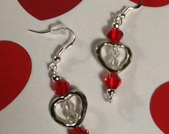Valentine's Earrings, Valentine Earrings, Heart Earrings, Swarovski Earrings, Sterling Silver, Handmade Earrings, Valentine's Gift for Her