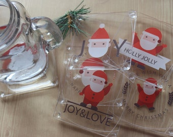 Christmas Decorative Acrylic Table Coasters Set of 6 with Holder