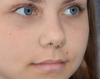 SEPTUM RING / Brass nose ring, cartilage hoop, helix ring, tragus jewelry, nipple jewelry, septum hoop, daith earring 16g