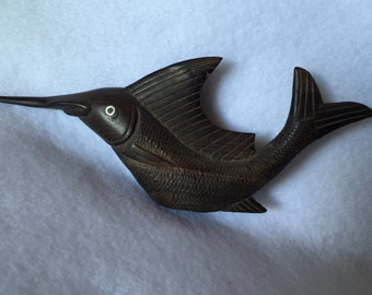 Hand carved swordfish