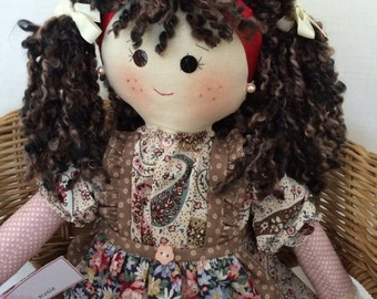 Original rag doll, keepsake rag doll, traditional rag doll, one of a kind doll, fabric doll, unique rag doll, collectable rag doll
