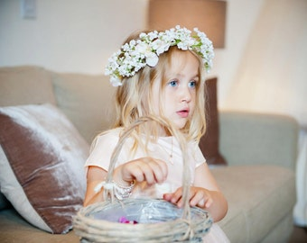 Lola Gypsophila Flower Spray Crown Babys Breath Hair Head Band