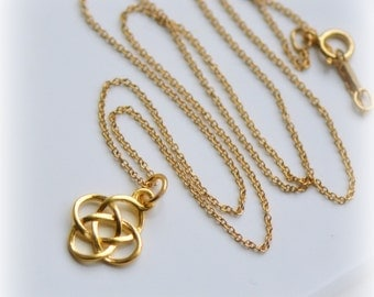 Celtic Knot Necklace in Gold, Irish Charm Necklace, Gold Charm Necklace, Love Knot Pendant Gold Vermeil -  Handmade Gift for Her, Blissaria