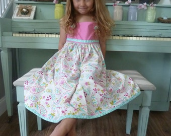 Matilda Jane Style Dress/Girl's Dress/Botique Dress/Paisley Dress/Knot Top Dress
