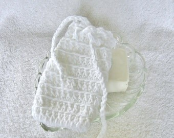 White Crochet Soap Saver Cotton Soap Holder Soap Bag Soap Sack  Shower Soap Holder