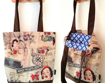 Tote bag, shoulder bag, vegan bag, Handbag, Beach Bag, summer bag, Everyday bag, canvas handbag, canvas tote, retro handbag, vintage bag