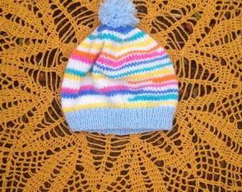 Knitted Toddler Beanie - Rainbow