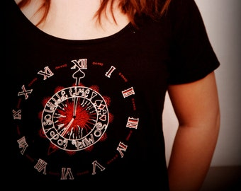 So Much to Do, So Little Time! Alice in Wonderland inspired tshirt, clockface design, teens/ladies black cotton scoop neck red/ white detail