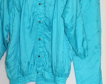 True Vintage '80s ABRAXAS Women Turquoise Blue Nylon Wind Track Suit Old School Fresh Prince Hip Hop Slouch Jacket Pant Set Small Medium 6 8