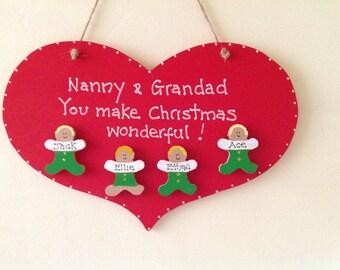Personalised grandparents heart plaque