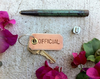 Leather Keychain, Stamped 'Official', Leather Tag, Leather Key Chain, Key Chain