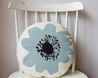blue anenome flower cushion