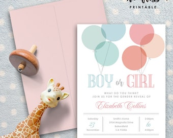 Balloons Gender Reveal Invitation | Boy or girl | 5x7 | Editable PDF File | Instant Download | Personalize at home with Adobe Reader