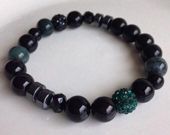 Men's All Black Agate & Dark Green Beaded Bracelet