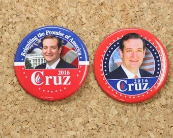 "2-1/4"" Ted Cruz for President 2016 Election Pinback Button Style 02"