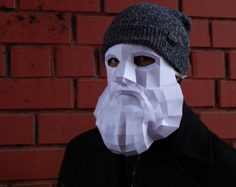 The Beard Mask. Low Poly . Fancy dress . Party Clothes