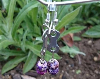 Earrings. Hand Made. Recycled Bicycle Chain Link .  FREE SHIPPING!!  Purple Bead