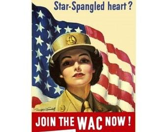 Star Spangled Heart World War II - Vintage Collectible WWII Decor - 1940s - World War 2 Propaganda - WW2 Collectible - Womens Army Corps