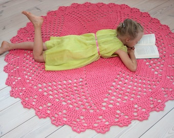 Round salmon pink doily rug 63''/160 cm - crochet carpet - handmade rug - crochet cotton rug - rug from t-shirt yarn- floor rug - girls room