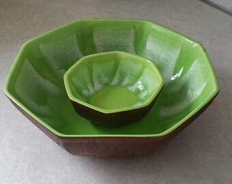 Vintage Retro Drip Glaze Serving Bowls Dish Set Green Glazed Set of 2