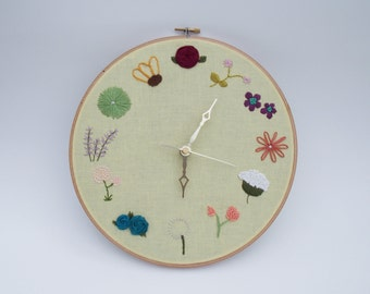 Floral Embroidery Wall Clock