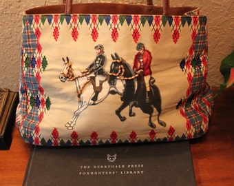 Vintage Foxhunt Scene Purse Beaded 70s 80s 90s ~~ Equestrian, Horse, Preppy, Kitsch, Whimsical