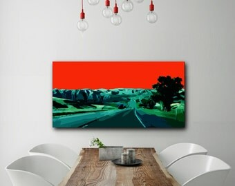"Modern Wall Art, Mid Century Modern, Canvas Print, Wrapped Canvas, Abstract Landscape, Colorful Art, Red, Orange, Teal, Blue, ""By the Road"""