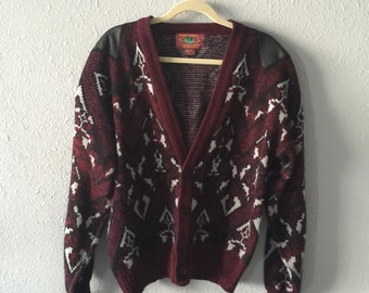 1980's Men's Faux Leather Knit Cardigan Sweater by Chartwell