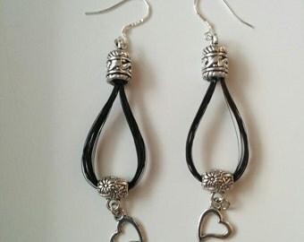 Black color horse hair earrings
