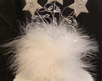 a star crystal white marabou feather birthday cake topper