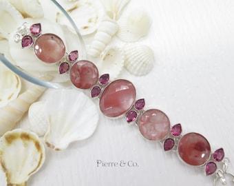 Faceted Cherry Quartz and Kunzite Sterling Silver Bracelet