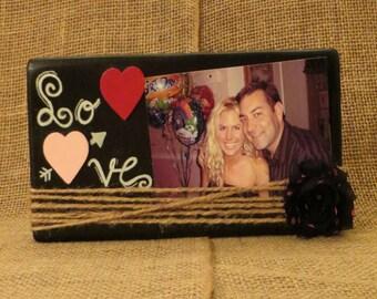 Chalkboard frame, LOVE frame, Wooden frame, Wooden hearts, handwritten frame, black pink and red, wedding gift, jute frame, handmade wood