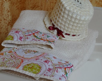Retro Butter Cream Bathroom Towel Set With Toilet Paper Cover