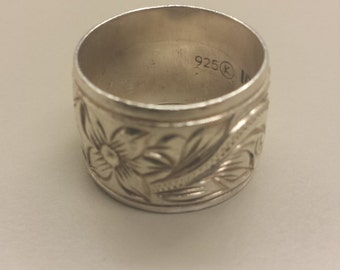 Sterling Silver .925 Wide Band With Floral Scrollwork