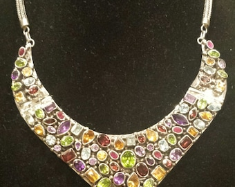 Massive .925 Sterling Silver Necklace With Semiprecious Stones