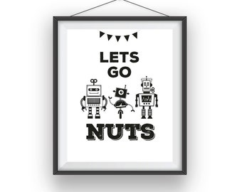 Robots Print, Robot wall print, Robots room art, playroom decor, nursery art, wall decor, children wall art, 8x10 print