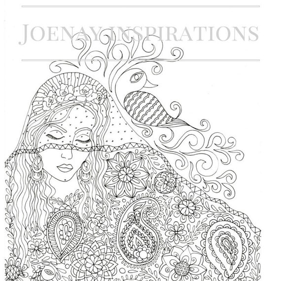 Adult Coloring Book, Printable Coloring Pages, Coloring Pages, Coloring Book for Adults, Instant Download, Faces of the World 2 page 3
