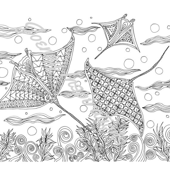 Adult Coloring Book, Printable Coloring Pages, Coloring Pages, Coloring Book for Adults, Instant Download, Treasures of the Ocean 1 pg 11