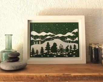 Bear&Hare - original papercut (framed)