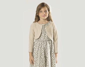 "Girls Bolero Shrug in Sizes 2 to 13 Years -- The ""Bunny"" Knit Cardigan in Oatmeal"