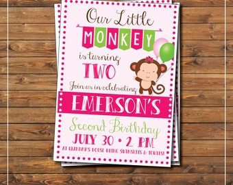 Little Monkey Girl Birthday Party Invitation Pink & Lime Green Cute, kid's birthday, party, our little monkey