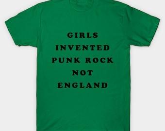 Girls Invented Punk Rock Not England T-Shirt - Kim Sonic Gordon Punk Shirt - Mens Womens Unisex Top - XS S M L XL 2XL 3XL