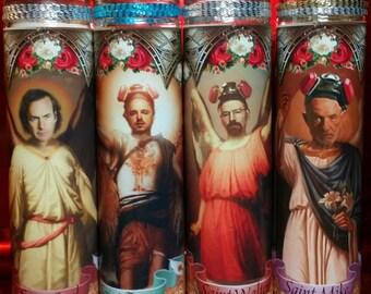 Set of 4  Breaking Bad  Archangel saint Candles  - Walter White, Jesse Pinkman, Mike & Saul -  Celebrity Saint Prayer Candle