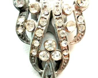 Vintage Art Nouveau Clear Rhinestone Dress Clip Silver Tone PAT 1801128 Diamante