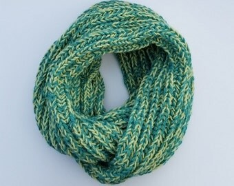 Handknit Chunky Infinity Scarf in Teal/Gren