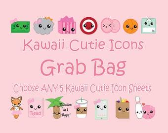 Kawaii Grab Bag, Kawaii Planner Stickers, Choose ANY 5 Kawaii cutie Icons in my Shop, for Erin Condren, Mambi Happy