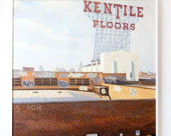"""Untitled (Kentile Floors, Brooklyn), 48x60"""", Original painting, Oil on canvas, by Jay Aron for Arthouse Brooklyn"""