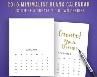 2016 Monthly Calendar Printable, Blank Calendar | Minimalist Calendar Printable | Wall Calendar 2016, Calendar 12 Months | INSTANT DOWNLOAD