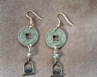 Golden Birdcage with Coin earrings