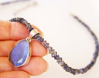 Iolite & Labradorite Pendant Necklace Sterling Silver Handmade One of a kind